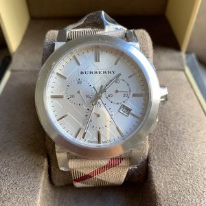 NEW BURBERRY WATCH MEN'S BU9357 SILVER
